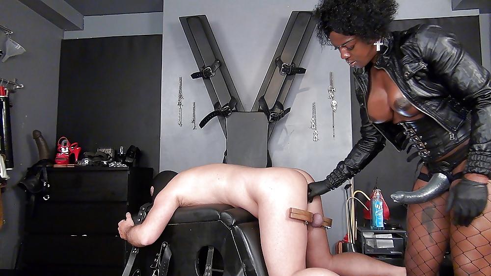 Ebony Femdom Pegging Bound Man
