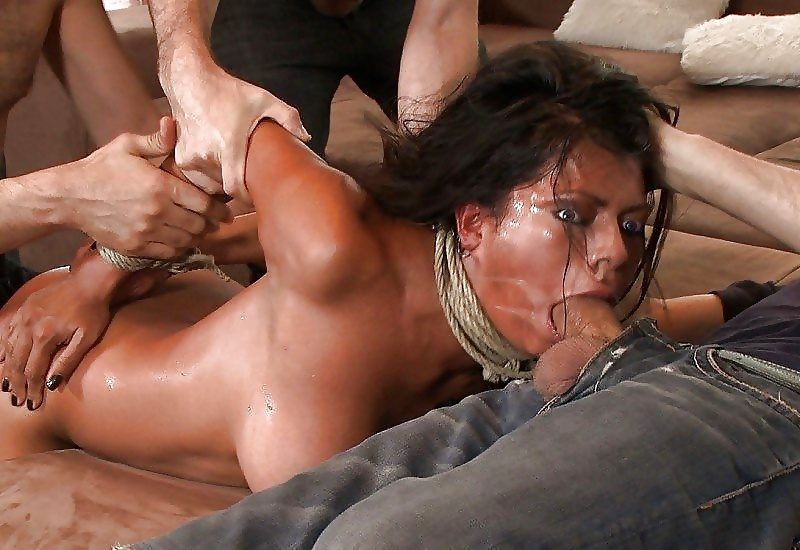 Brunette got tied up and forced to watch her boyfriend fucking a woman she hates
