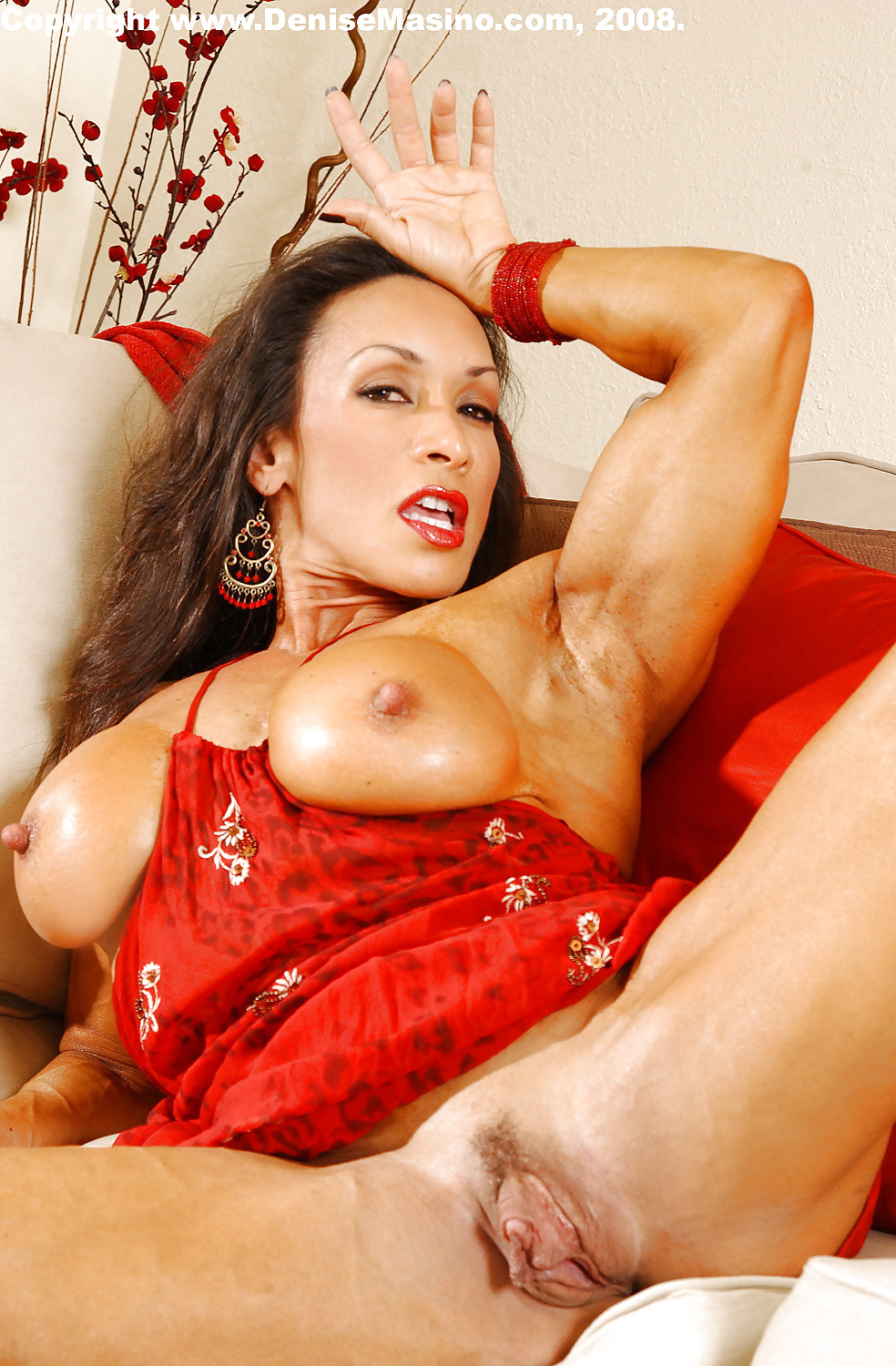 Female Bodybuilder, Denise Masino Likes To Play With Her Gigantic Clit, In Front Of The Camera