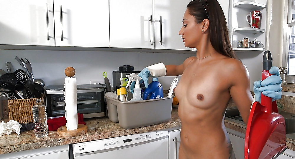 Sexy Woman Cleaning Naked