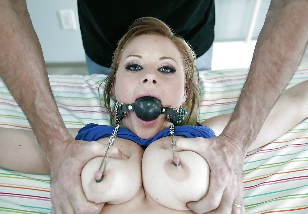 Older whore gets nipple and pussy pinching bdsm style