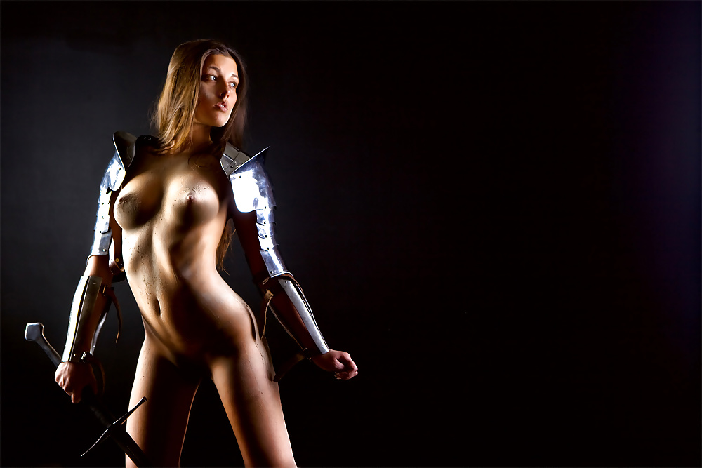Hot female warrior in see