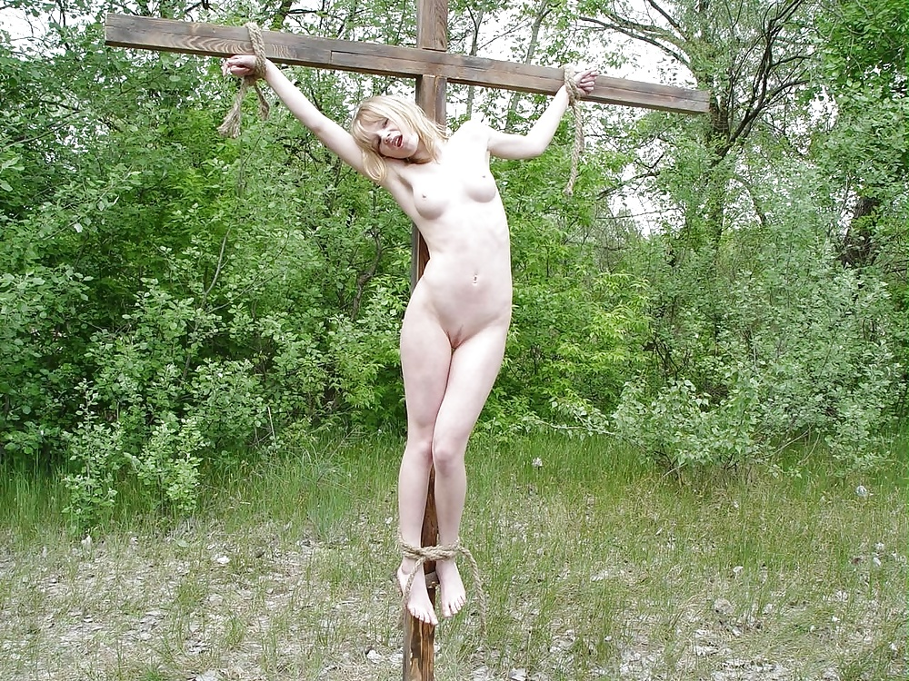 Skinny slave girls in outdoor crucifixion photo clip