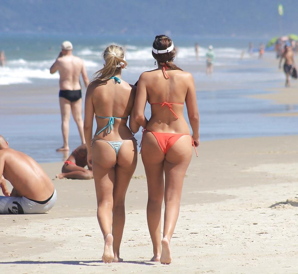 Girls naked big booty at the beach thong