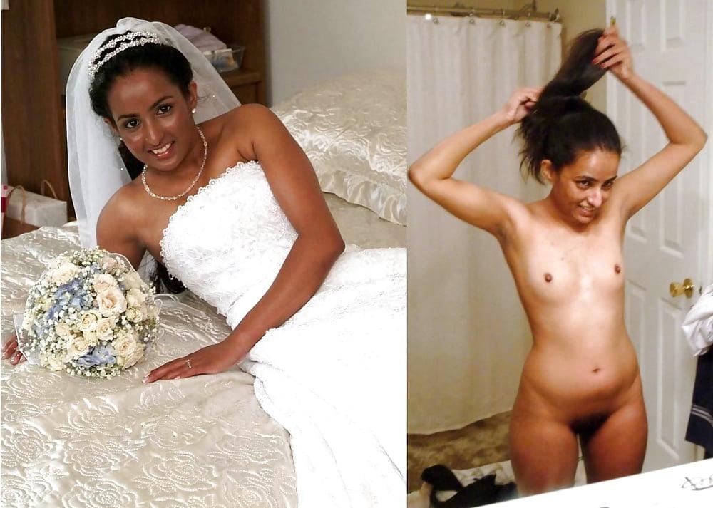 Sweet horny european bride nude after wedding
