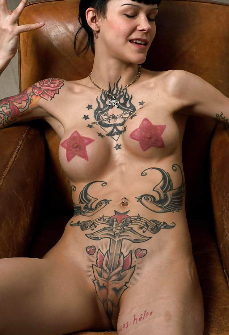 Girl with tattoos on pussy fucking nude