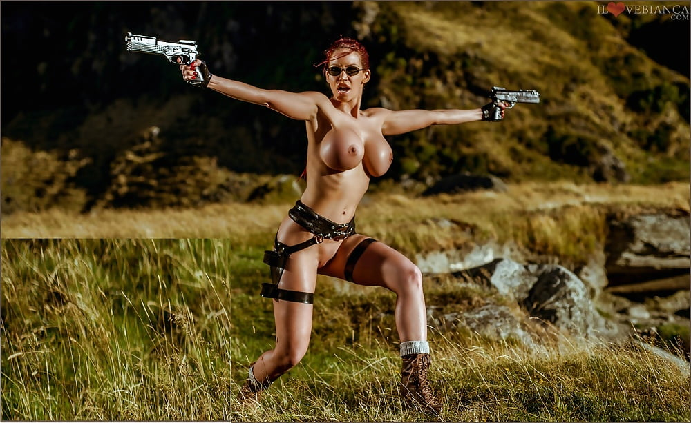 Gun Girl Sexy Big Breast Nude Stock Photo