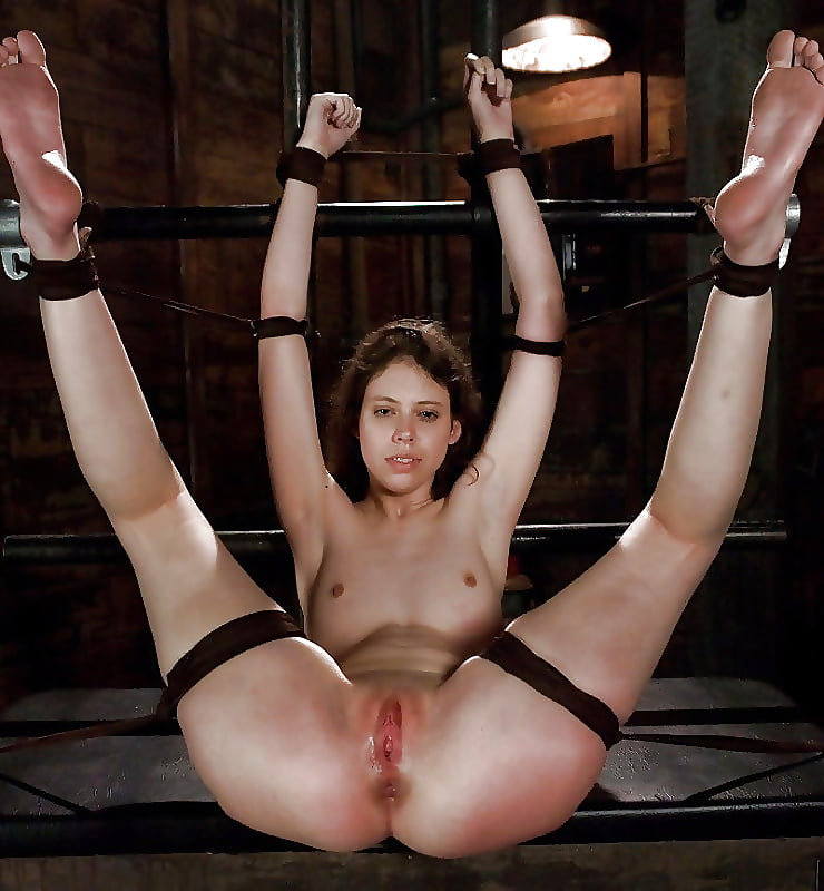 Girls hands behind head slave position, blowjob tight outfit