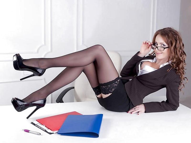 Elegant Office Outfit Black Stockings High Heels Model