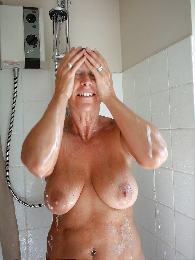 Shower british mom big natural tits