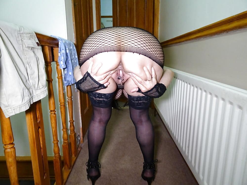 Funny mature woman strutting