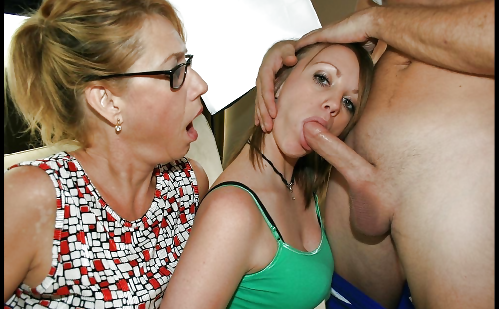 Mothers teaching daughters to give blowjobs