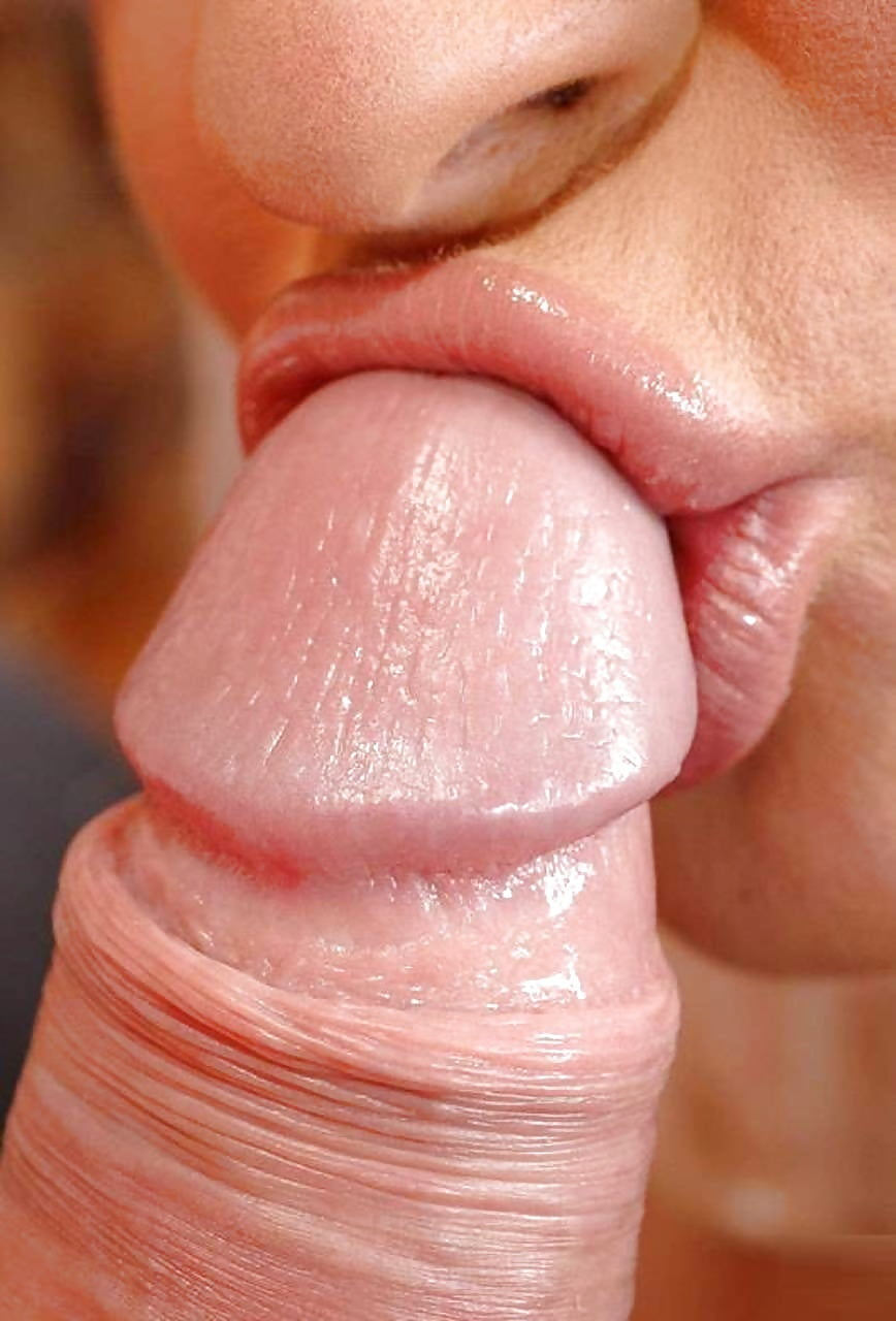 Close up of lips on cock