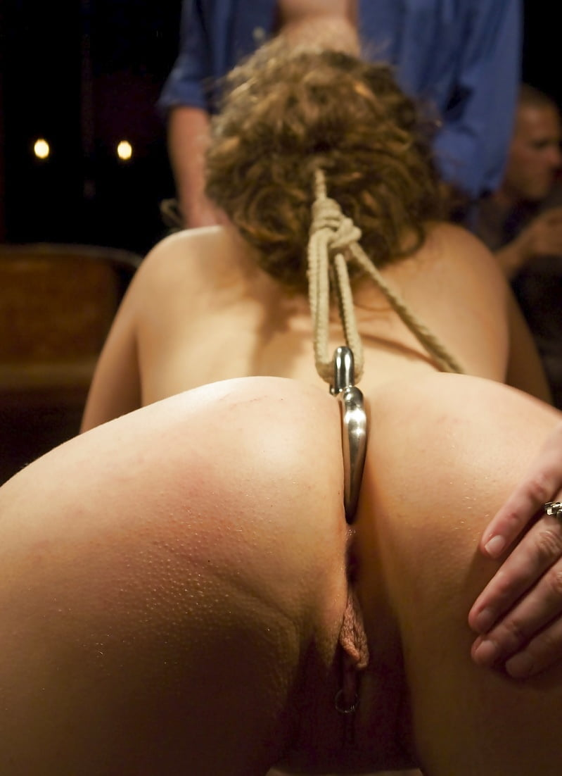 Anal hook and electrodes go into the ass of
