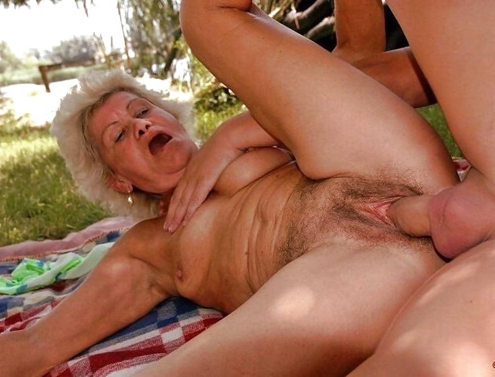 Granny has outdoor sex porn