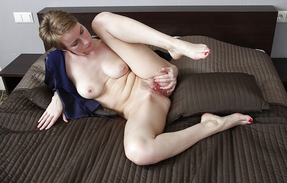 Pale mature blonde getting power