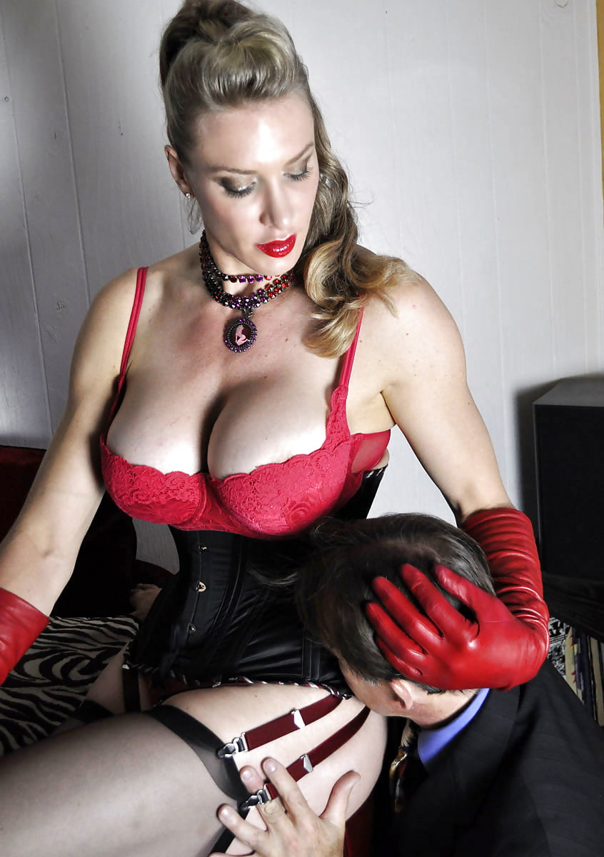 Busty dominant milf wife in latex loves cuckold sex with her husband porn photo