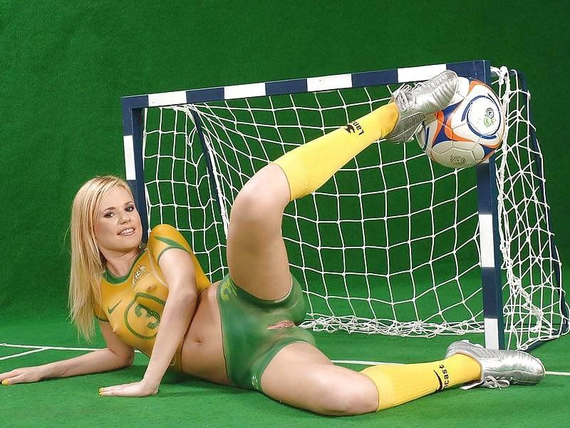 Naked football fans image photo