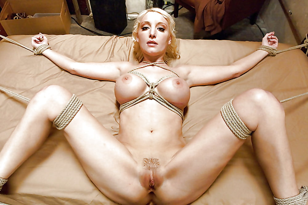 Tied milf whore ands up with cum on her tits