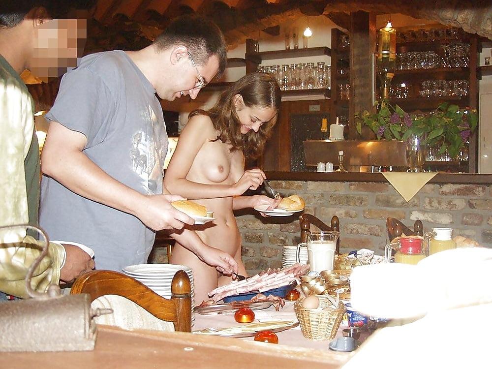 Naked slaves dinner party