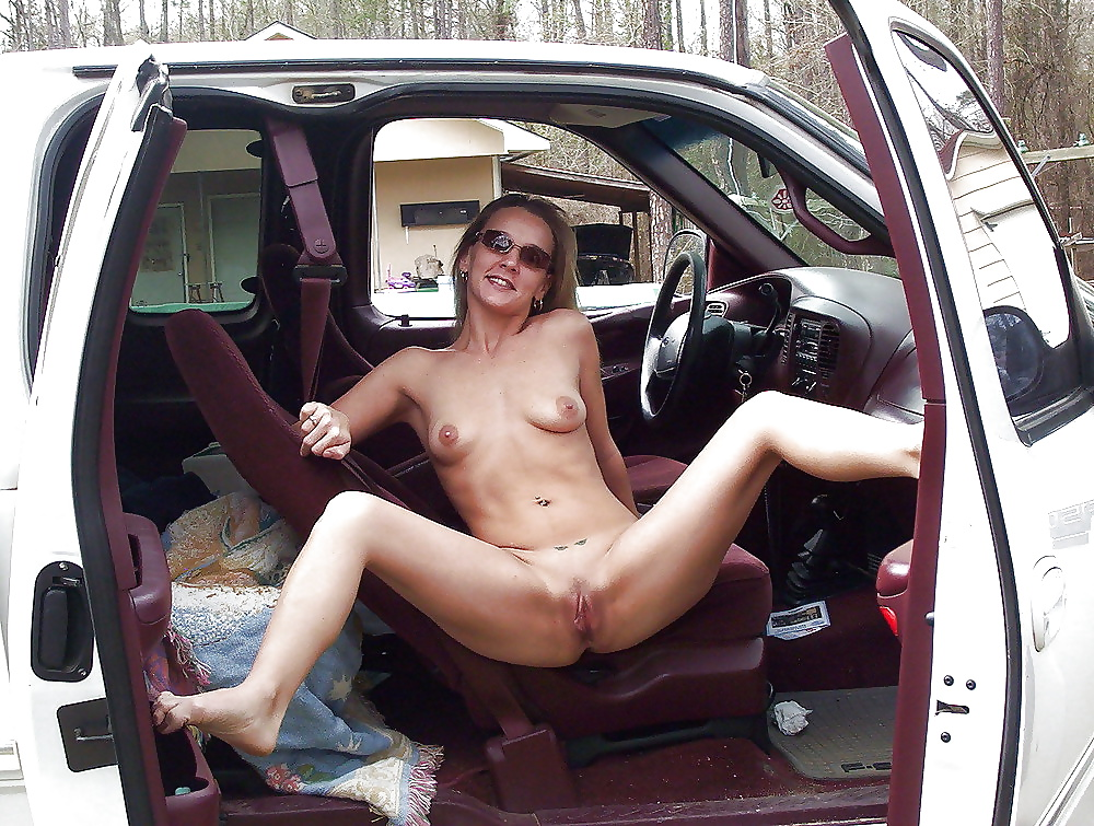 Showing pussy in car