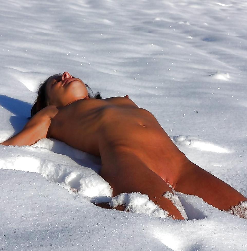 Girl ass fire naked snow