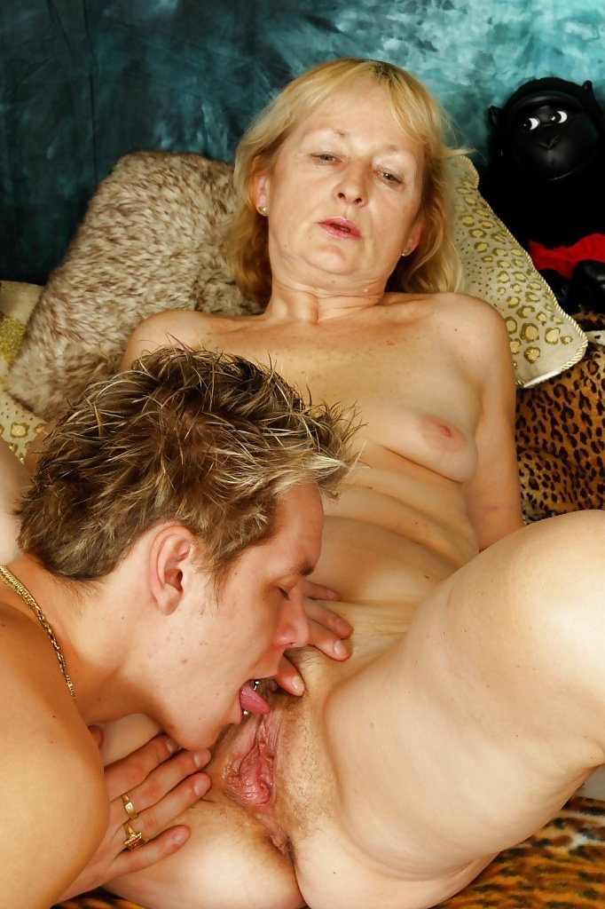Hairy old granny licking ass of