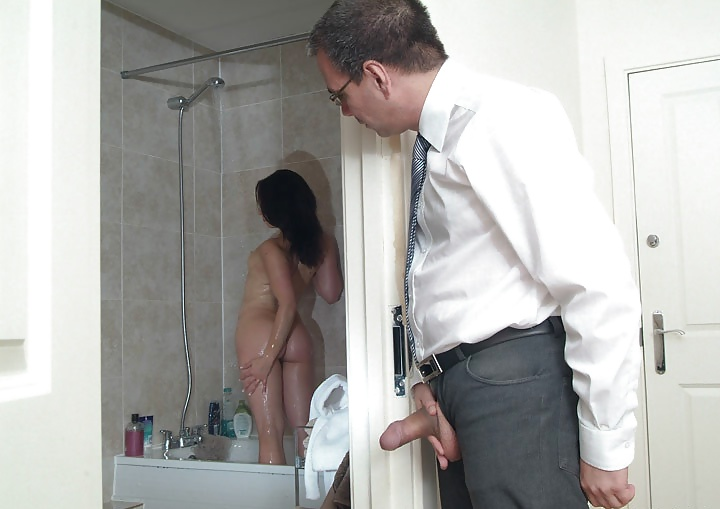 Busty milf caught her stepson for peeping and sucked in his bathroom