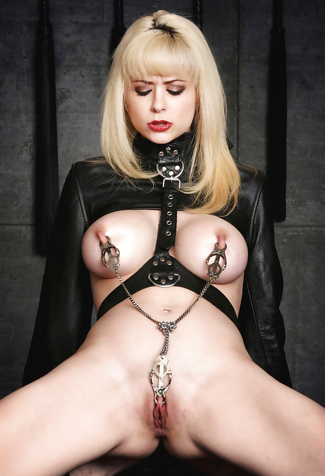 Pierced latex nipple slave