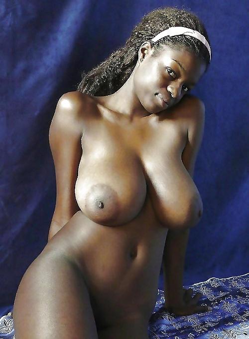 Big black ebony breast