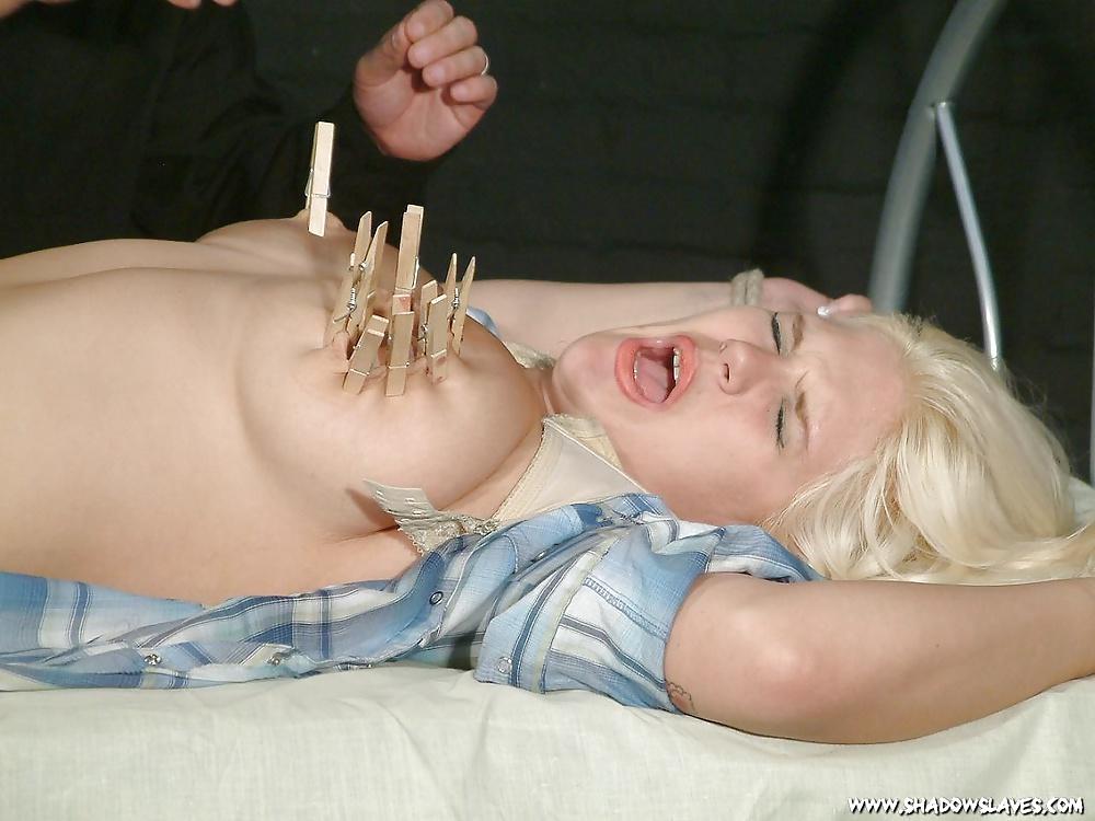 Blonde tit torture