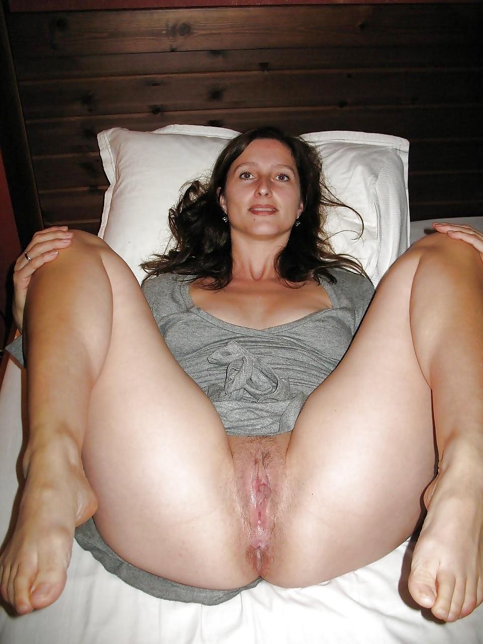 Wifes wet pink pussy spread open hot milf spreading her legs