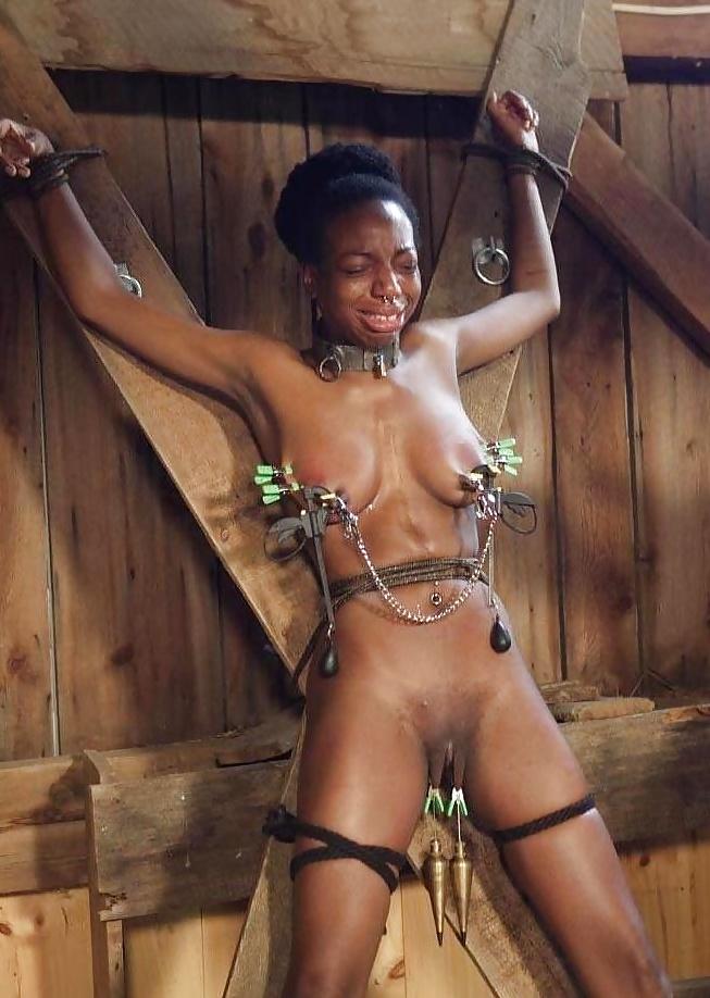 Hot ebony slave girl punished