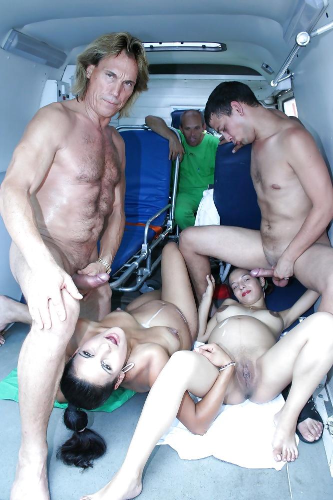 Watch Ambulance Fuck Orgy With Two Preggo Babes