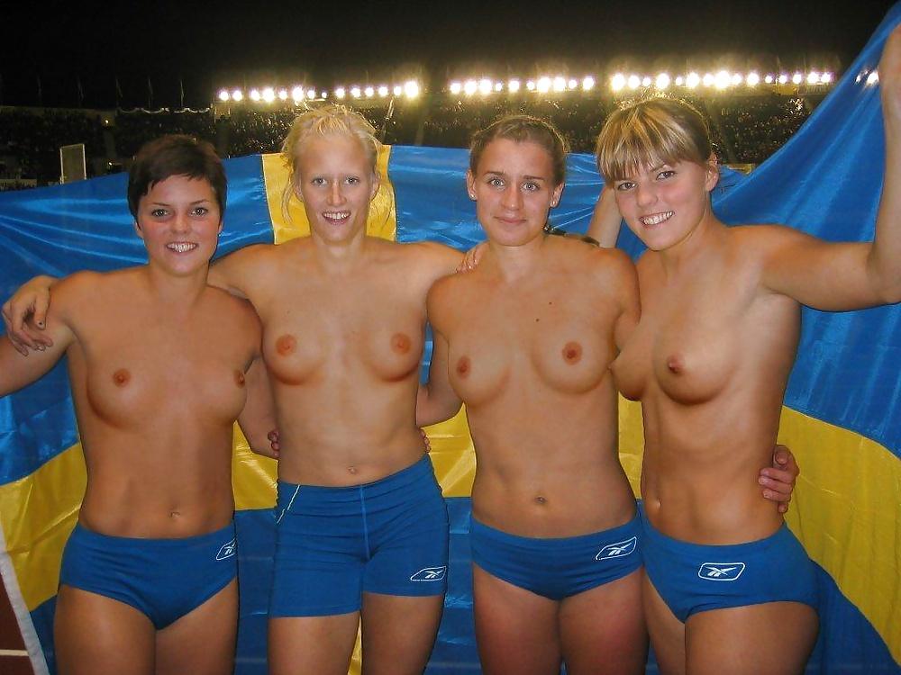 Outdoor nude women volleyball team