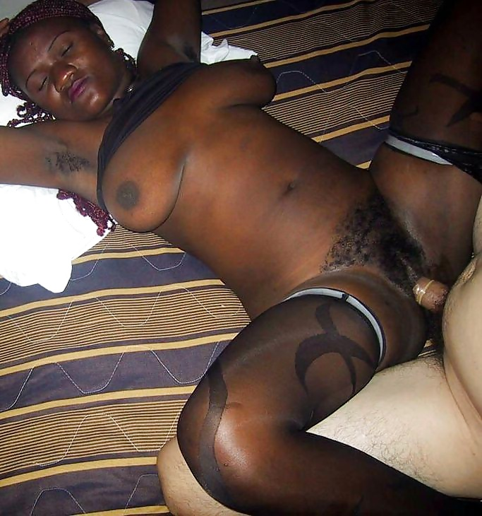 Ebony amateur interracial trio