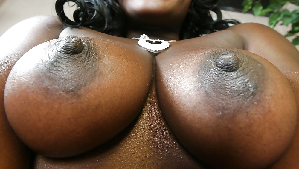 Enormous black tits cry for two cocks