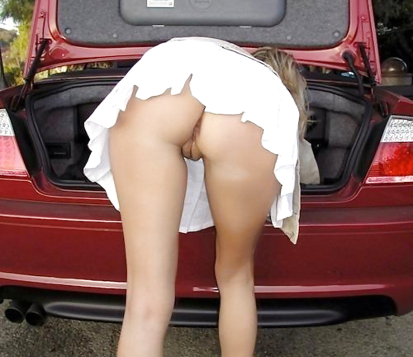 Sexy young jewel in her mini skirt with no panties