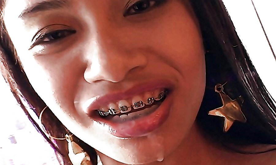 Thai teen smile with braces gets creampied