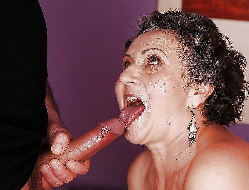 Nasty old lady gets a cumshot