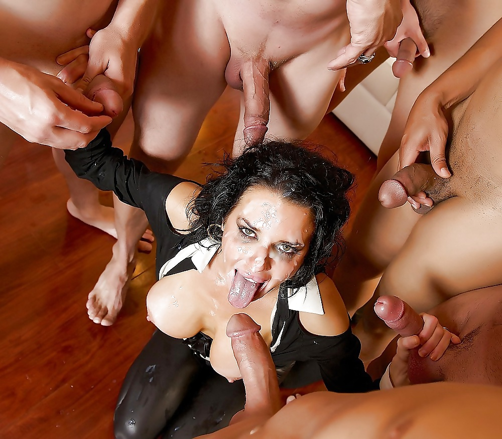 They all cum in her pussy gangbang