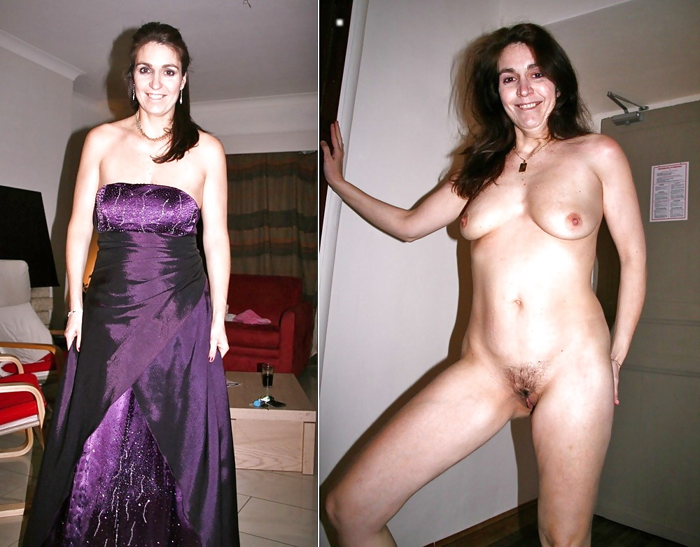 Smokin hot brunette milf clothed and unclothed