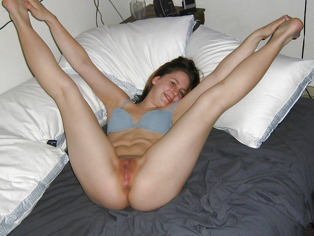 Naked wife legs wide open, alias blue bikini