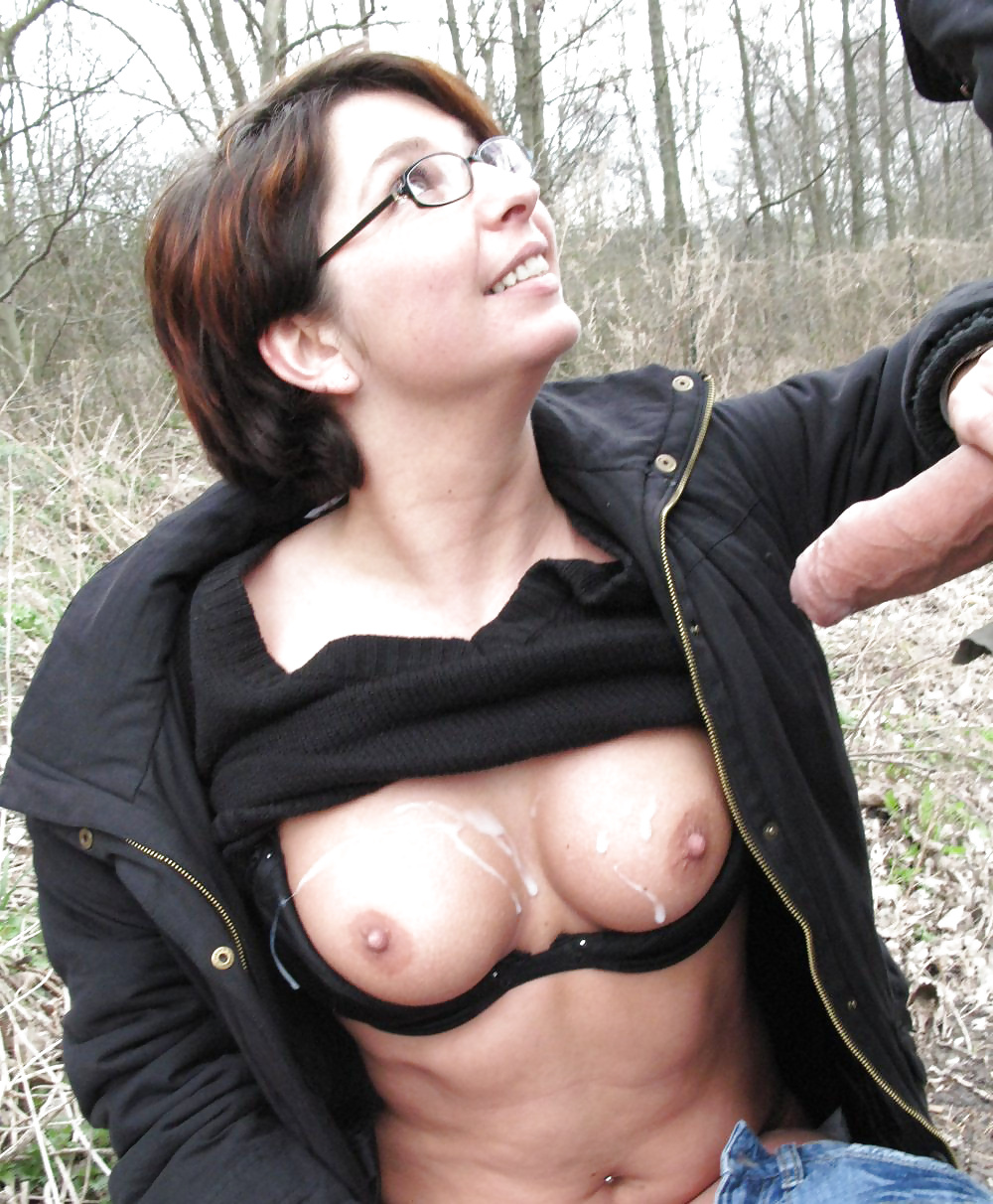 Public Cum On Blonde In Leather New