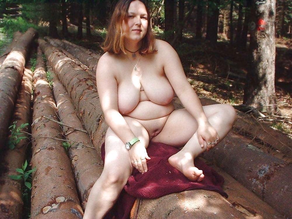 Bbw naked outdoors hiking