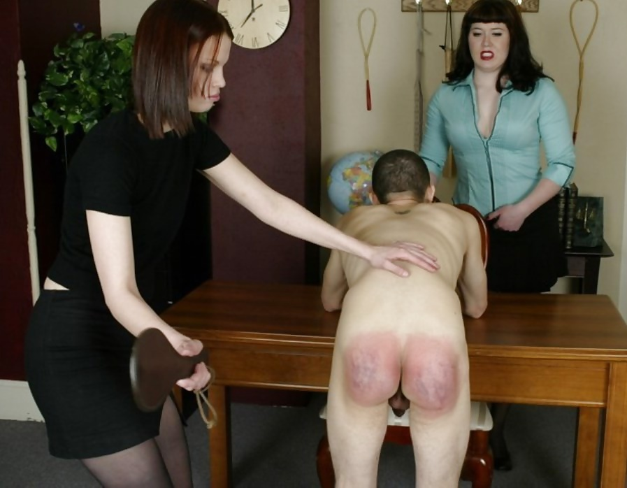 Girls in uniforms, spanked, caned and paddled on their bare bottoms