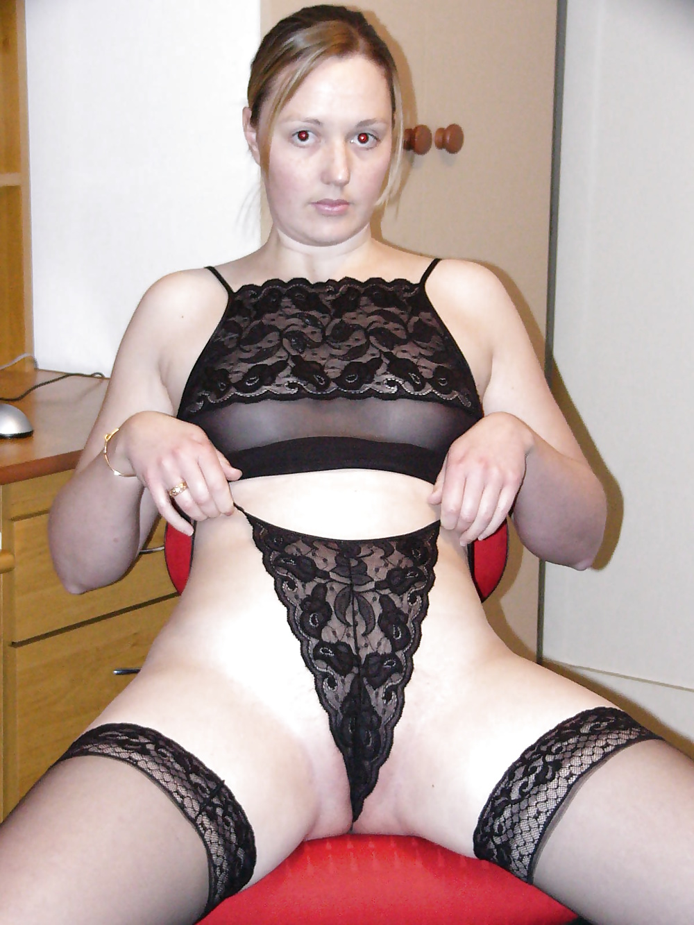 Pretty Blonde Charley Removes He Black Lace Thong To Spread Pussy Lips Wide