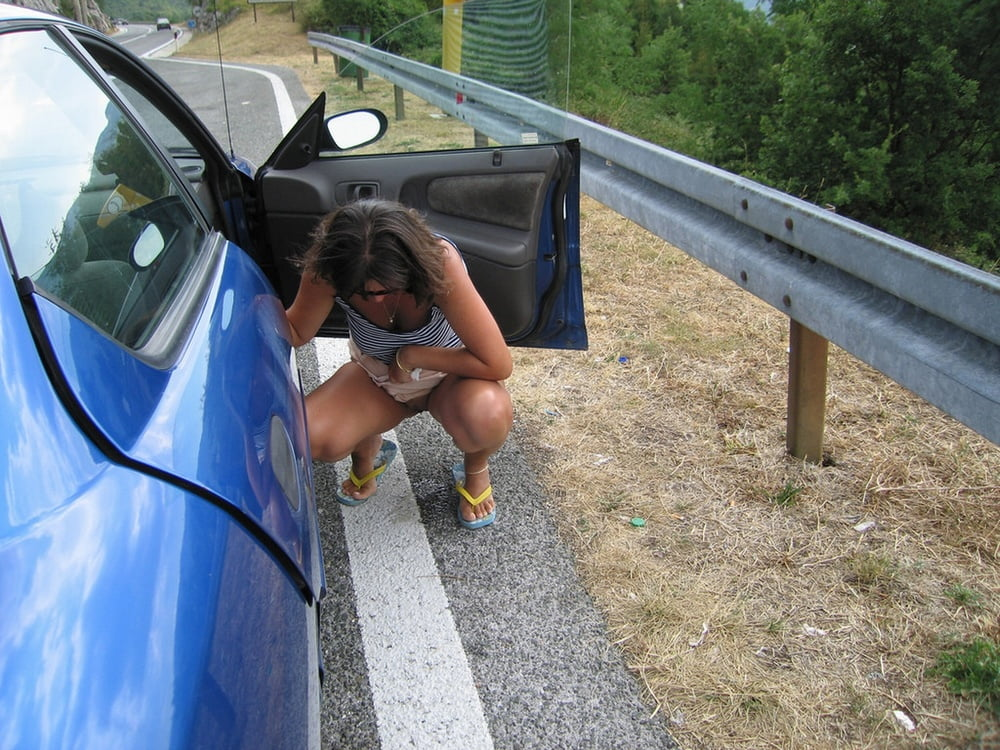Hanging tits beauty peeing in car like fuck