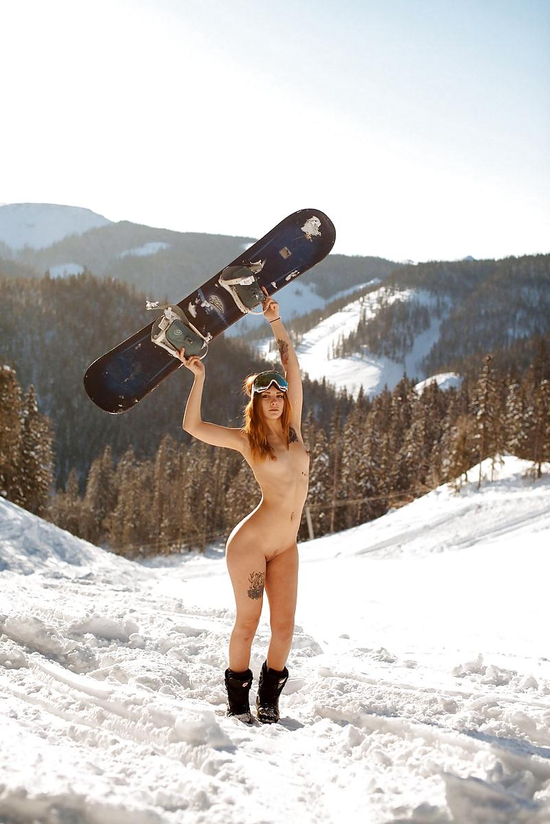 Women snowboarding nude