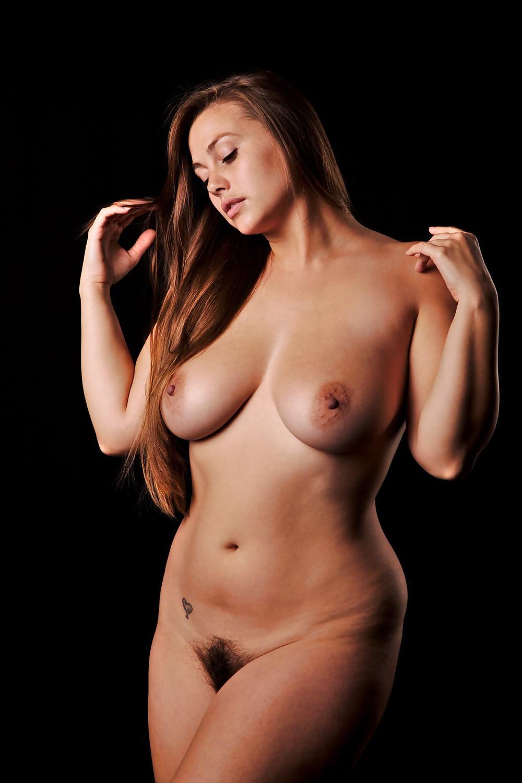 Naked voluptuous eastern european caucasian woman stock photo
